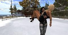 Dont drop me (Becks (Rebecca)) Tags: ben becks ice skating rink cold snow trees secondlife sl avatar avi
