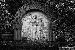 Hamburg Ohlsdorf Friedhof / cemetery (peterkaroblis) Tags: hamburg ohlsdorf friedhof cemetery parkfriedhof parkcemetery grab grave park germany statue angelandsoldier womanandsoldier blackandwhite schwarzweiss