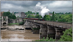 Passing the old Castle (Welsh Gold) Tags: a3 pacific flyingscotsman 1z70 cathedralexpress newport gloucester river usk southwales