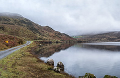 Bunaveela Lough (mickreynolds) Tags: lough lake mountains water heather road fog rocks wildatlanticway comayo nephin