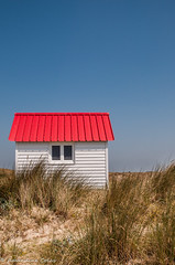 The red cabin (Am@ndeen) Tags: normandy normandie plage beach mer seaside red cabin cabane summer été holidays vacances travel voyage discover blue sky ciel nature window small outdoors france photography triptych triptyque ocean