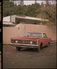65 mercury monterey on medium format film (Garrett Meyers) Tags: pentax67 garrettmeyers 120 6x7 kodak portra 400 kodakfilm 160 vintage car parked orange old rust filmphotographer film northerncalifornia