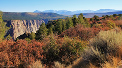 Distant Mountains from South Rim Road, Black Canyon of the Gunnison National Park, Montrose, Colorado, USA (Black Diamond Images) Tags: blackcanyonofthegunnisonnationalpark montrose colorado usa blackcanyon gunnisonnationalpark coloradolandscapes blackcanyonnationalpark blackcanyonofthegunnison landscapes westernusatrip2018 2018 panorama msice msicepanorama microsofticepanorama nationalparkservice precipice cliffs pegmatite precambriangneiss schistrock precambrian gneiss schist rock canond60 sigma1770 1770 hwy347 southrimrd southrimroad cedarpoint paintedwall
