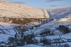 Viaduct in the winter hills (EltonRoad) Tags: 61306 35018 mayflower britishindialine b1 merchantnavy steam train railway line winter cumbrianmountainexpress dent dentdale artengill viaduct settle carlisle sc cumbria westcoast railwaytouringcompany