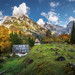 Autumn in Trenta valley in the mountains of Julian Alps