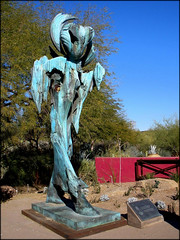 """St. Earth"" – Desert Botanical Garden, Papago Park, Phoenix, Arizona (7) (milomingo) Tags: outdoor dbg desertbotanicalgarden phoenix arizona southwest desert arid garden park statue art bronze stearth statuary gardenart walkingfigure robertwick texture blue patina verdigris"