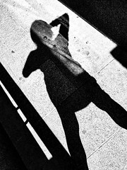 Scream Humanity:  Evil Deeds Must End! (cresting_wave) Tags: iphoneography mobileography iphonephotography mobilephotography streetphotography blackwhite monochrome iphonex procamera snapseed shadow humanform abstract