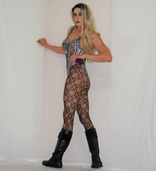 Patterned pantyhose queen (queen.catch) Tags: patterned pantyhose boots vintage leotard bathing suit wig fitness nylonlegs makeup sissy dragqueen crossdresser m2f strikeapose