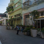Pedestrian Boulevard in Santa Clara, Cuba. With brand new signs, logotype, planters, lights and benches. thumbnail