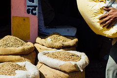 Bags of Tobacco, Varanasi India (AdamCohn) Tags: adam cohn ganga ganges india uttarpradesh varanasi bags sacks streetphotographer streetphotography tobacco wwwadamcohncom adamcohn