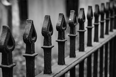 Cemetery Wrought Iron Fence (jessicalowell20) Tags: newhampshire black detail dunbarton fence iron monotone newengland northamerica repeatedpattenrs white wroughtiron
