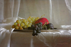 Still Life with Fruits ... (MargoLuc) Tags: grapes red apple plum fruits sweet natural light window white table naturamorta droplets classic shadows silk autumn season