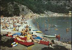 Postkort fra Agder (Avtrykket) Tags: strand badende badering luftmadrass postkort pram påhengsmotor sjø sommer grimstad austagder norway nor