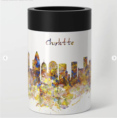 Charlotte Watercolor Skyline Can Cooler (marianv2014) Tags: charlotte northcarolina watercolor skyline skylines skylineart skylinepainting aquarelle blue yellow splashes watercolorpainting watercolorskyline cityart citysymbols modernpainting americancities artgifts affordableart citymap modernart illustration artwork art colorful beautiful city whitebackground contemporary decor landmark charming can coolers