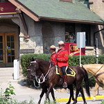 Royal Canadian Mounted Police in Red Serge dress uniforms in Jasper, AB thumbnail