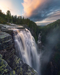 Up above (Ron Jansen - EyeSeeLight Photography) Tags: norway canyon waterfall powerful rain water depth buskerud trees cloud clouds rocks steep wall colors