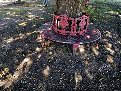 Shadow Challenge 1 (Corgibird) Tags: lightandshadows lightrays windom texas windomtexas thanksgiving sparkle trees parks chairs wroughtironfurniture playground swings slides gravel liveoaks whimsical fairyland grass bark warmcolors autumncolors