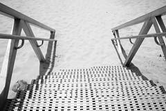 down to the beach (monkeyc.net) Tags: salt kingscliffe nsw australia beach beachside steel stairs sand black white