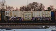 DMONS - NOVEL (◀︎Electric Funeral▶︎) Tags: omaha midwest councilbluffs nebraska lincoln fremont desmoines kansascity kansas missouri iowa graff graffiti paint aerosol art freight train traincar freighttraingraffiti railway railroad railcar benching benched freighttrain rollingstock fr8train fr8heaven fujifilmxt2 armn reefer dmons novel syw d2f digital photography