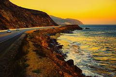 Malibu Magic (nixter) Tags: losangelescounty malibu pch pacificcoasthighway beach cali california coast coastal goldenhour highway1 magic ocean pointmugu reflection sunset waves yellow