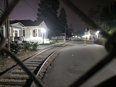 History Park at Night (earthdog) Tags: 2018 googlepixel pixel androidapp moblog cameraphone road track building night lowlight kelleypark sanjose walkingdistance historypark sanjosehistorypark light