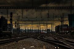 Train station entrance (Valérie C) Tags: train railroad zurich dusk station switzerland