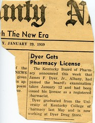 James Dyer Jr. Pharmacy License Notice (lxwqnvxv90) Tags: jfd dyerdrug 1950s newspapers