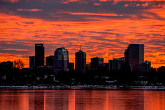 Denver Morning (Bernie Duhamel) Tags: denver sky skyline cityscape city colorado frontrange greatphotographers teamsony rockymountains sonya9 sonyfe100400mm clouds reflection edgewater sloanslake ice snow bernie duhamel