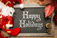 Blackboard with the text: Happy Holidays in a christmas conceptual image (nithiyabhaskar) Tags: happy holidays december season greetings fun new year eve merry christmas day calendar text decoration holiday concept card noel 2015 2016 xmas art words seasonal celebration wish gift decorative design board greeting message conceptual symbol blackboard celebrate quote chalkboard template santa claus 25 25th brazil