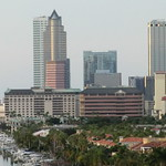 Florida - Tampa:  Downtown at dusk. The tower on the left is Rivergate Tower, a 454 ft / 138m tall skyscraper thumbnail