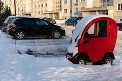 The Little Red Car (alexpta) Tags: car cold snow winter õismäe