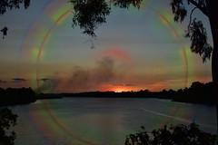 Delusion (Dreaming of the Sea) Tags: sunset manipulation smokeysunset water burnettriver bundaberg queensland australia redsunset reflections clouds gumtrees sky sun summer nikond7200 tamronsp2470mmf28divcusd gimp