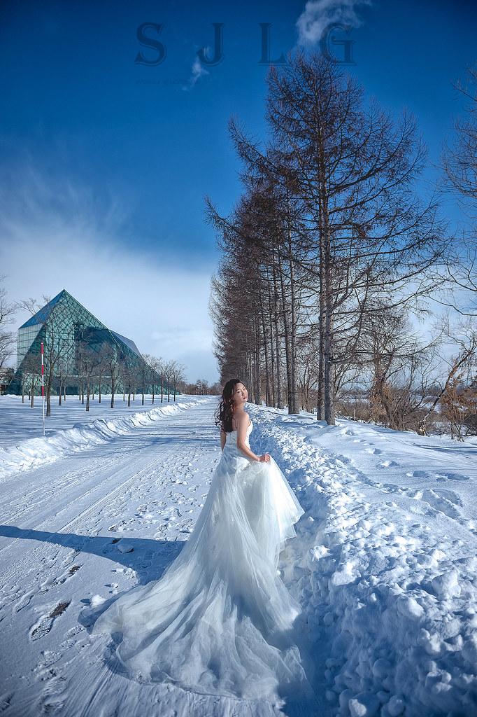海外婚紗攝影,日本北海道札幌,莫埃來沼公園,雪國雪地雪景婚紗