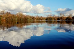 golden hour.....sky reflection (haslerbryan) Tags: canon60d clouds lake hertfordshire reflection water