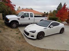 Beauty & the Beast (twm1340) Tags: subaru brz car 2008 ford f250 4x4 turbo diesel truck pickup superduty supercab white