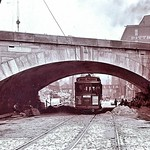 Trolley car going under bridge Pittsburgh 1903 thumbnail