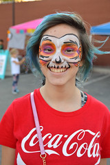 Audra - now with face paint! (radargeek) Tags: plazadistrict dayofthedead 2018 october festival kid kids child facepaint skull bluehair cocacola tshirt portrait