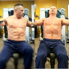 shirtless chest press (ddman_70) Tags: shirtless pecs abs muscle gym workout chest sweatpants