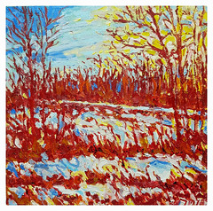 """Winter Light 2018 12X12"""" oil on birch panel. (Tim Noonan) Tags: landscape abstract oil painting canadian art contemporary"""