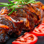 Tasty slices baked meatloaf on table thumbnail