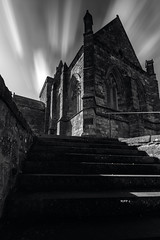 St Monans Church_G5A0062 (ronniefleming@btinternet.com) Tags: bw blackandwhite stmonans church visitscotland historicscotland eastneukfifecoast ph31fy ronniefleming architecture whispyskies leadinglines stairs handrail blondesandstone