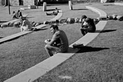 Winter Sun (laurentbourrelly) Tags: analog film leica leicam2 summicron ilford ilfordhp5 composition candid street streetphoto streetphotography blackandwhite monochrome