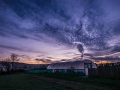 Bristol to Bath sunrise Jan 6 (strangesimon) Tags: rural plants greenhouse sky morning sunset rual food sunrise clouds colours
