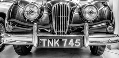 Light, Reflections and Patterns - Number 1 (photofitzp) Tags: 1954 bw blackandwhite cars gaydon jaguar light museum patterns reflections xk140