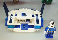 White Blur (LegoHobbitFan) Tags: lego moc build model creation space speeder hover car alien blue white