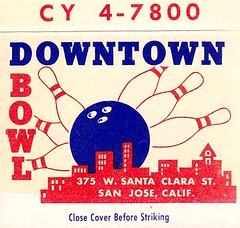 Vintage Matchbook Cover - Downtown Bowl - San Jose, Calif. (hmdavid) Tags: vintage matchbook matchcover advertising midcentury art illustration 1950s downtown bowl sanjose california bowling