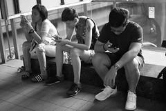 Street Photography at Siam Squre (Sittipol Mahapirom) Tags: mobile phone social media mono blackandwhite monochrome life lifestyle fasion casual street photography teen teenager girls boys nikon nikor d80