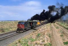 GE Smoke screen (Moffat Road) Tags: unionpacific up southernpacific sp formerriogrande coaltrain leyden colorado upmoffattunnelsub ac4400cw train locomotive railroad co smoke exhaust meet 328 dpu ge
