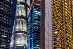 Shanghai #11 - Pudong Buildings (_Franck Michel_) Tags: building tower pudong financial district night light balcony architecture abstract