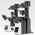 生物用倒立型システム顕微鏡の写真
